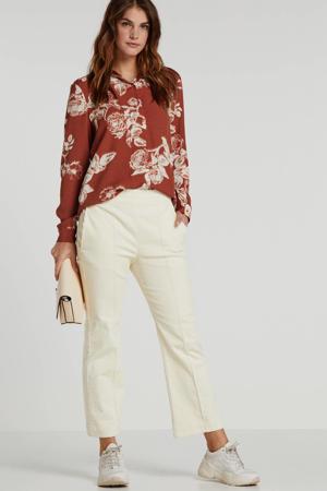 gebloemde blouse brique/crème