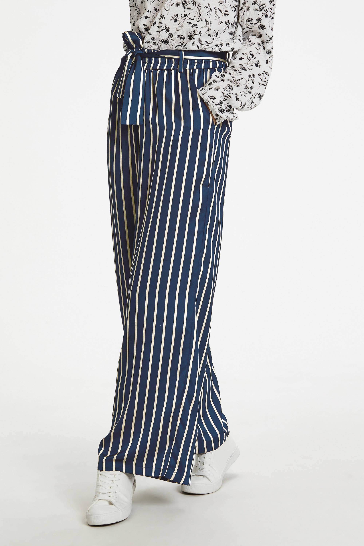gestreepte high waist loose fit broek blauwwit