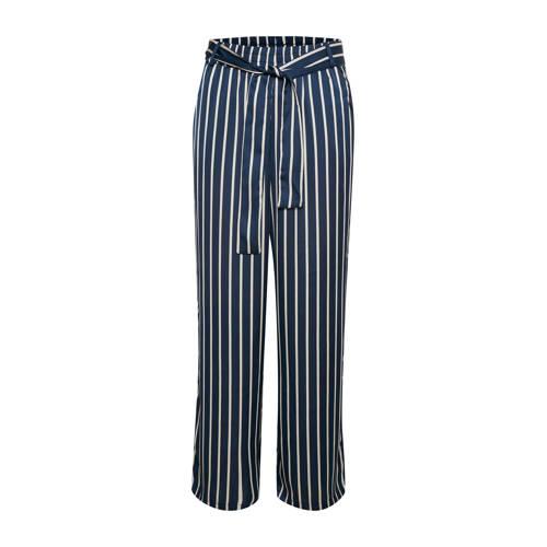 Kaffe gestreepte high waist loose fit broek blauw/