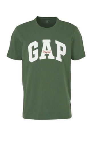 T-shirt met logo en borduursels groen/wit