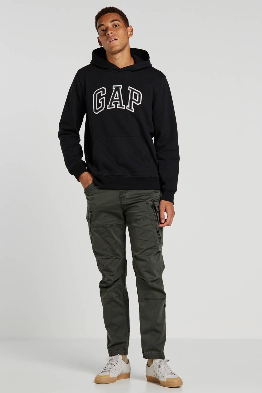 GAP hoodie met logo en borduursels zwart, Zwart