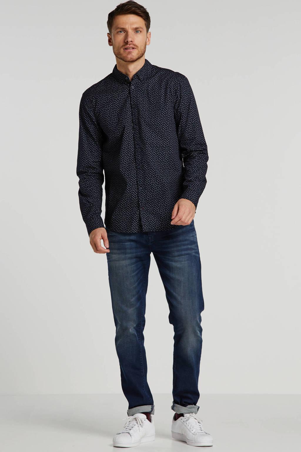 Blend regular fit overhemd met all over print marine/wit, Marine/wit