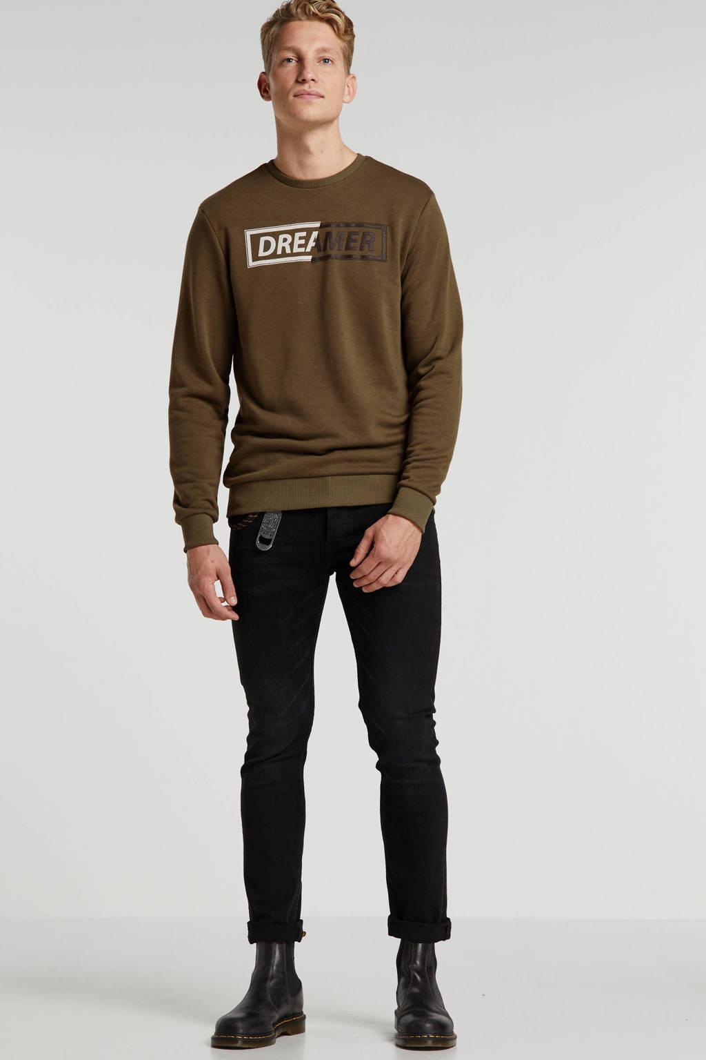 Blend sweater met tekst olijfgroen, Olijfgroen