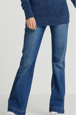 high waist flared jeans stonewashed