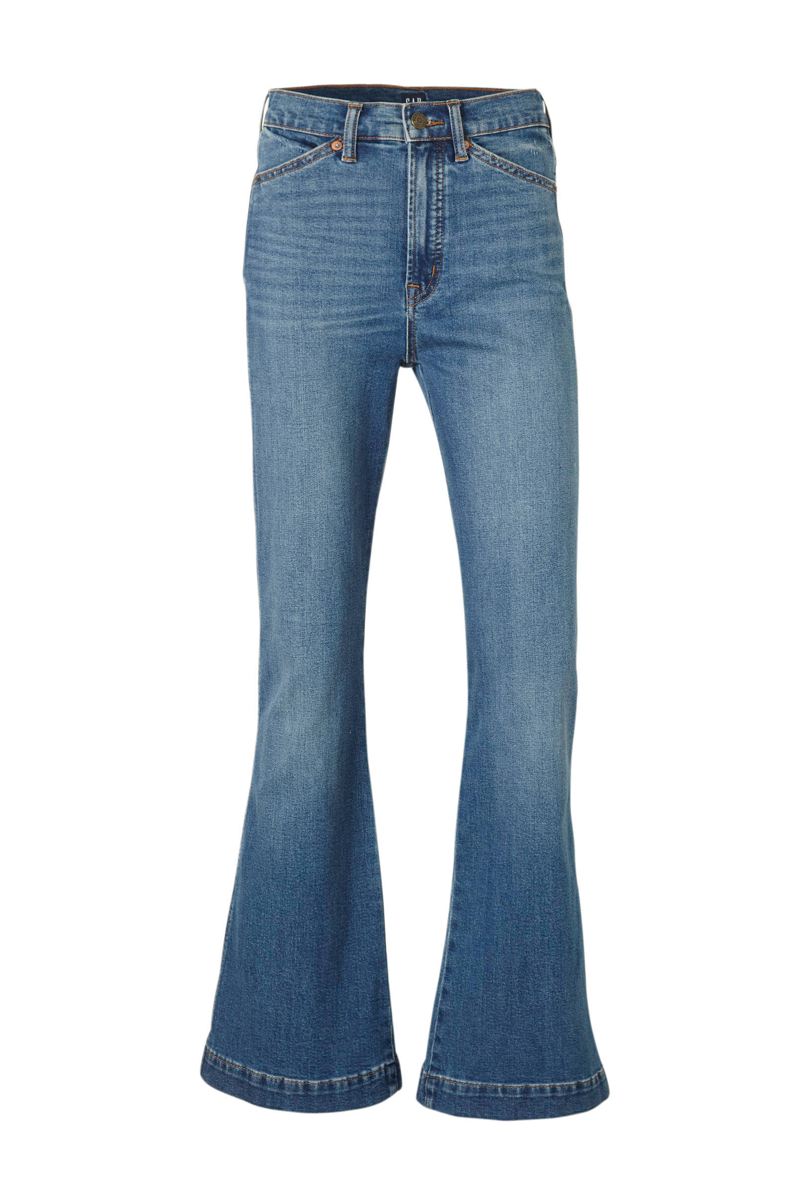 high waist flared jeans stonewashed