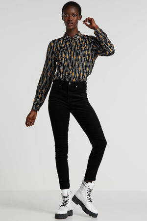 corduroy high waist skinny broek zwart
