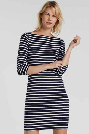 gestreepte jersey jurk donkerblauw/wit
