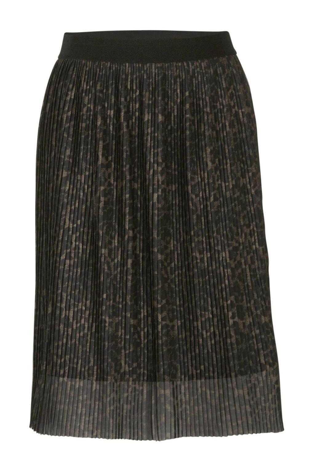 Yesta plissé rok met panterprint zwart/bruin, Zwart/bruin