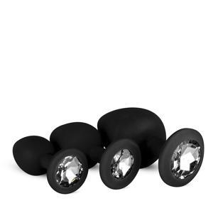 Siliconen Buttplug set met diamant - Zwart