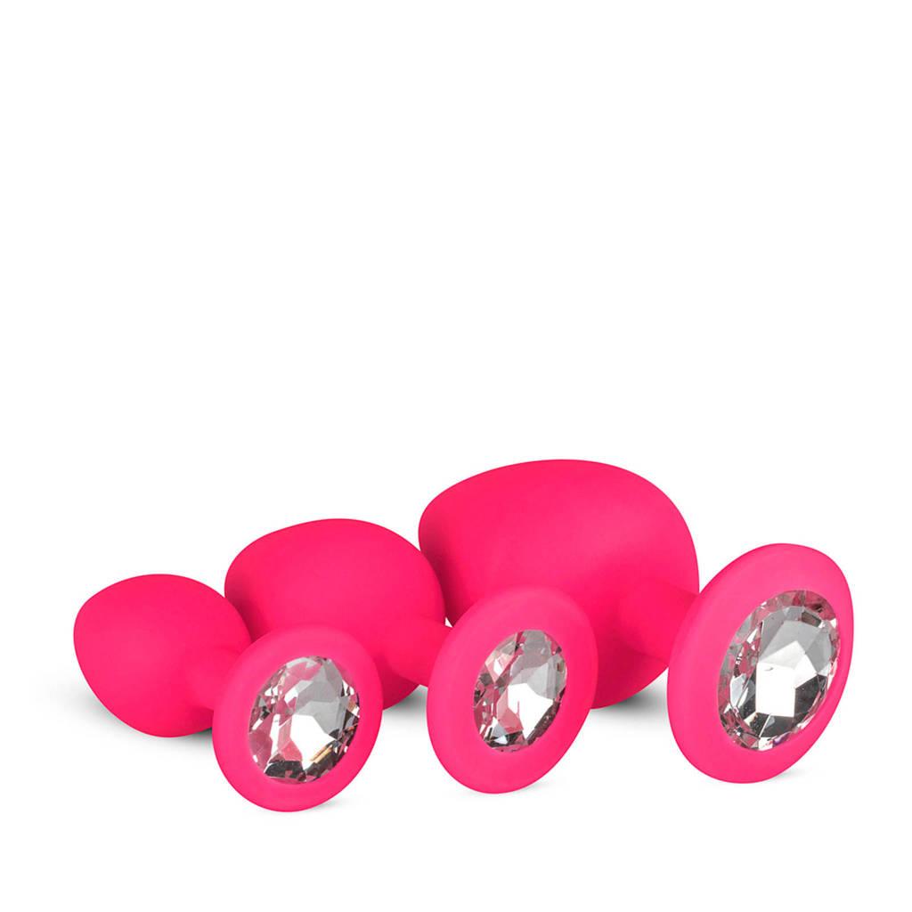 EasyToys Siliconen Buttplug set met diamant - Roze