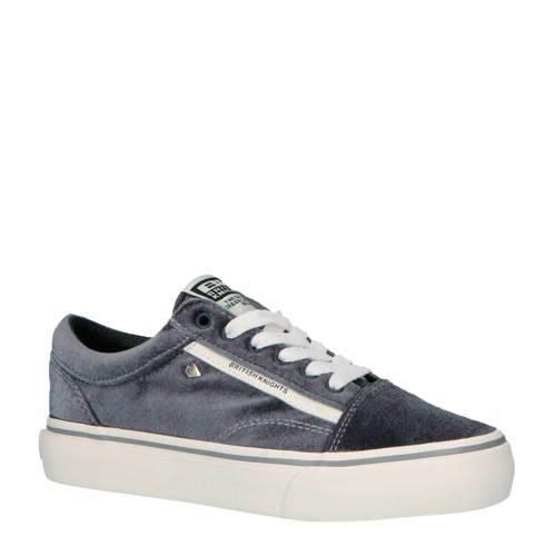 British Knights Platform Mack velours sneakers grijs-wit