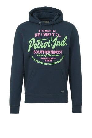 hoodie met printopdruk turquoise/roze/groen