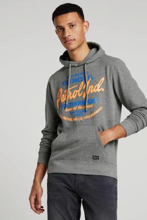 hoodie met tekst grijs/blauw/orane
