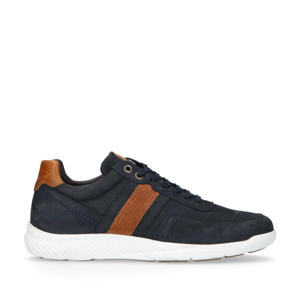 nubuck sneakers donkerblauw/cognac