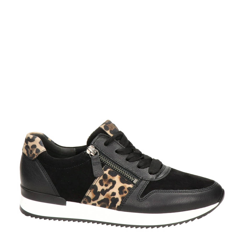 Gabor   suède sneakers zwart/panterprint, Zwart