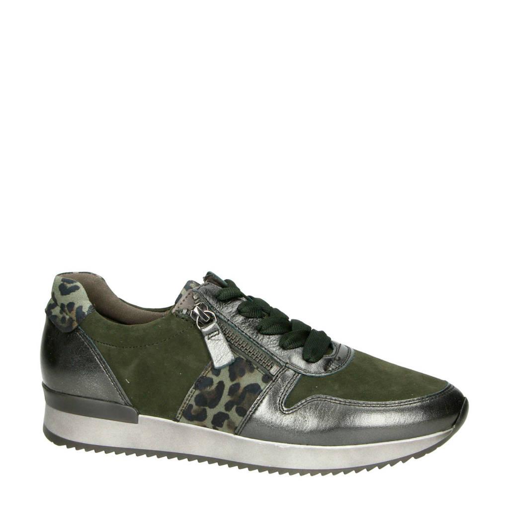Gabor   suède sneakers zilver/panterprint, Zilver/groen