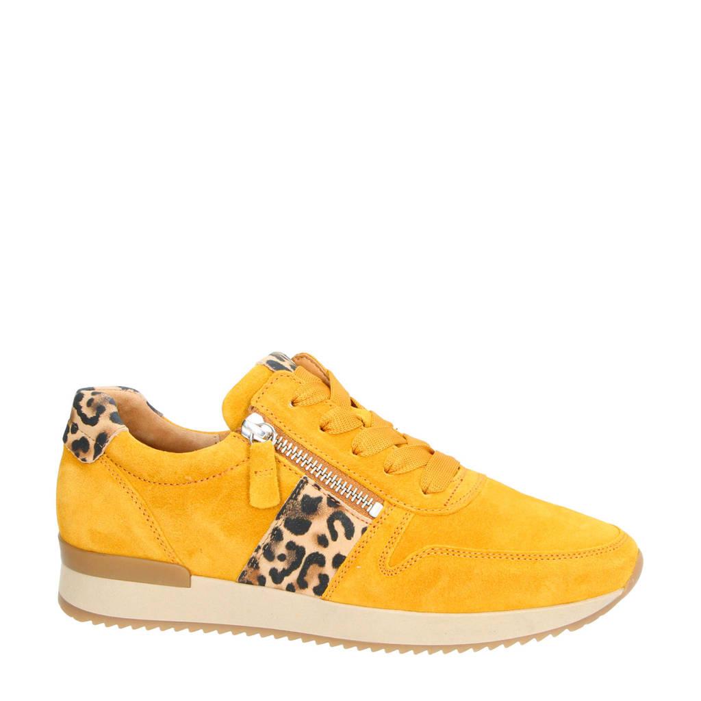 Gabor   suède sneakers okergeel/panterprint, Okergeel
