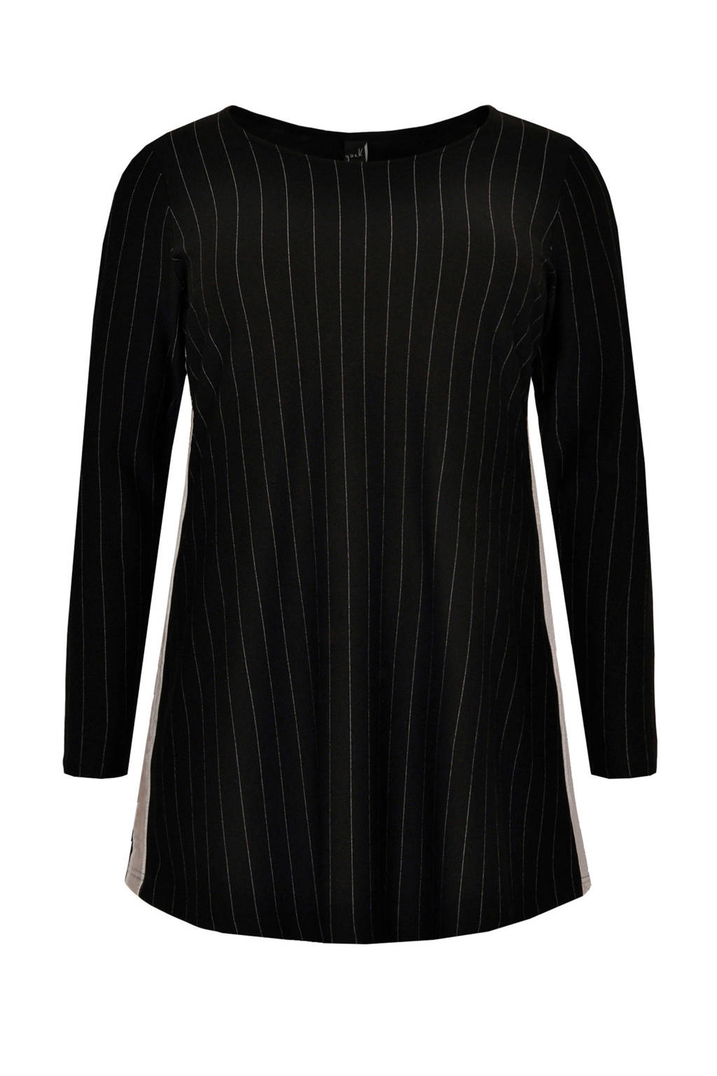 Yoek tuniek met contrastbies zwart/wit, Zwart/wit