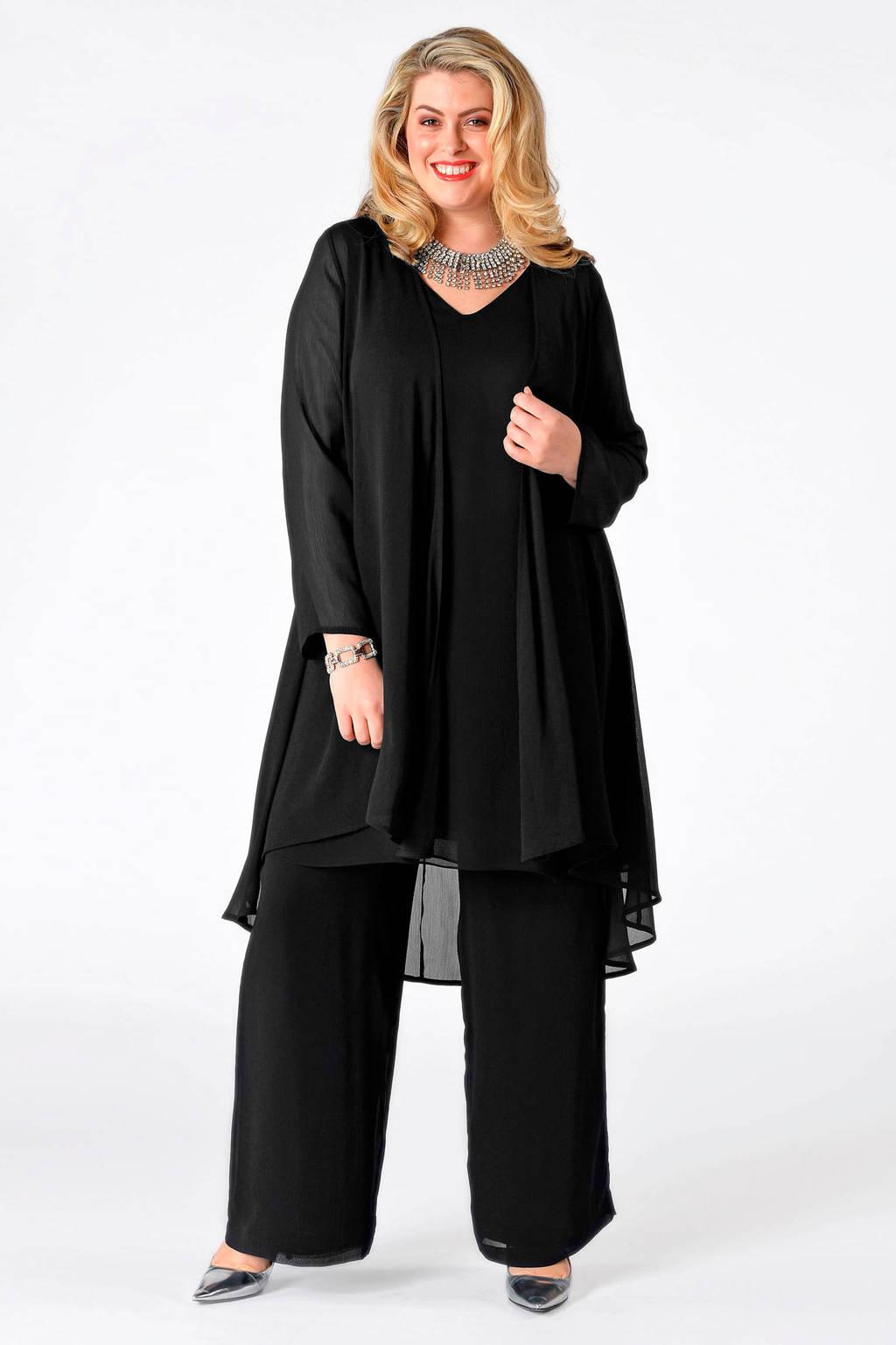 Yoek semi-transparant jasje zwart, Zwart