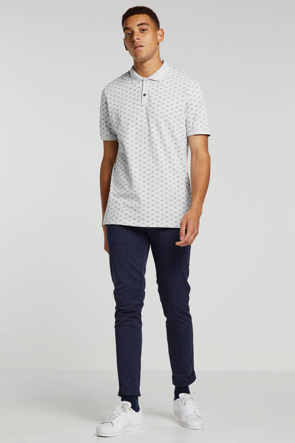 Banana Republic regular fit polo met all over print light grey heather, Light Grey Heather