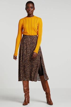 A-lijn rok met panterprint lichtbruin