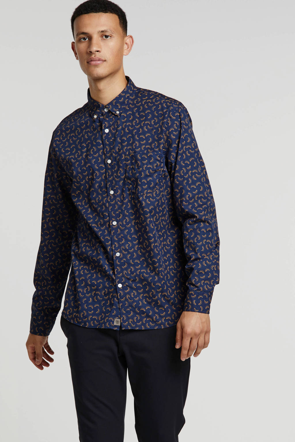Banana Republic slim fit overhemd met all over print donkerblauw, Donkerblauw