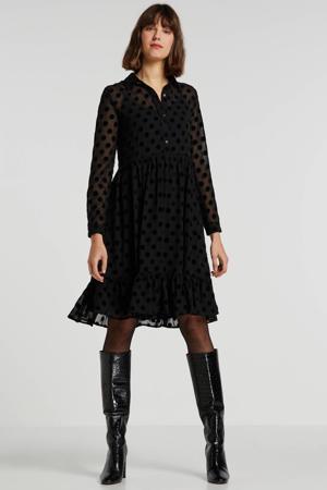 semi-transparante jurk met stippen en ruches zwart/grijs