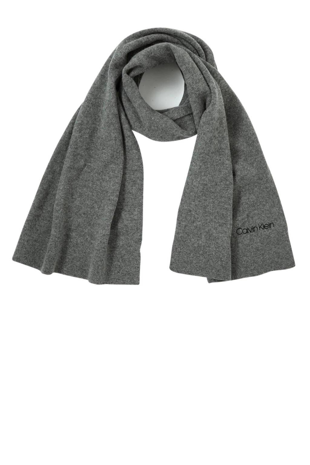 CALVIN KLEIN sjaal Boiled met wol grijs, Grijs
