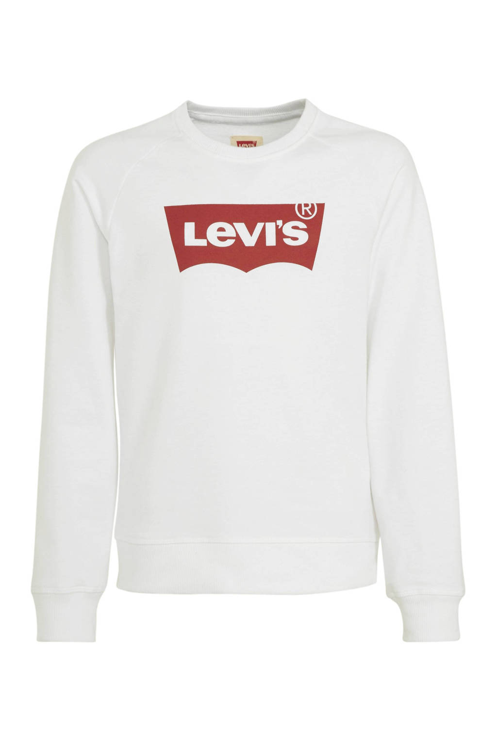 Levi's Kids sweater Batwing met logo wit/rood, Wit/rood