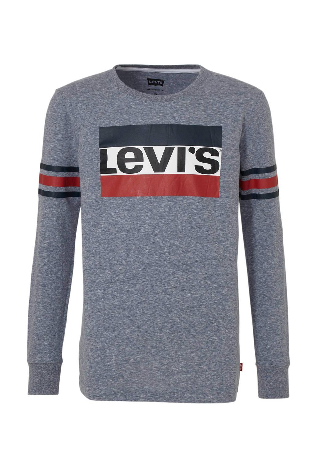 Levi's Kids longsleeve Geoffrey met logo blauw melange