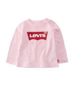 Kids longsleeve Batwing met logo roze