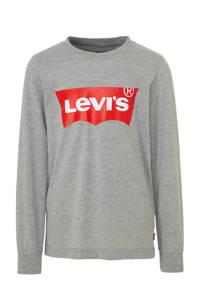 Levi's Kids longsleeve Batwing met logo grijs melange, Grijs melange
