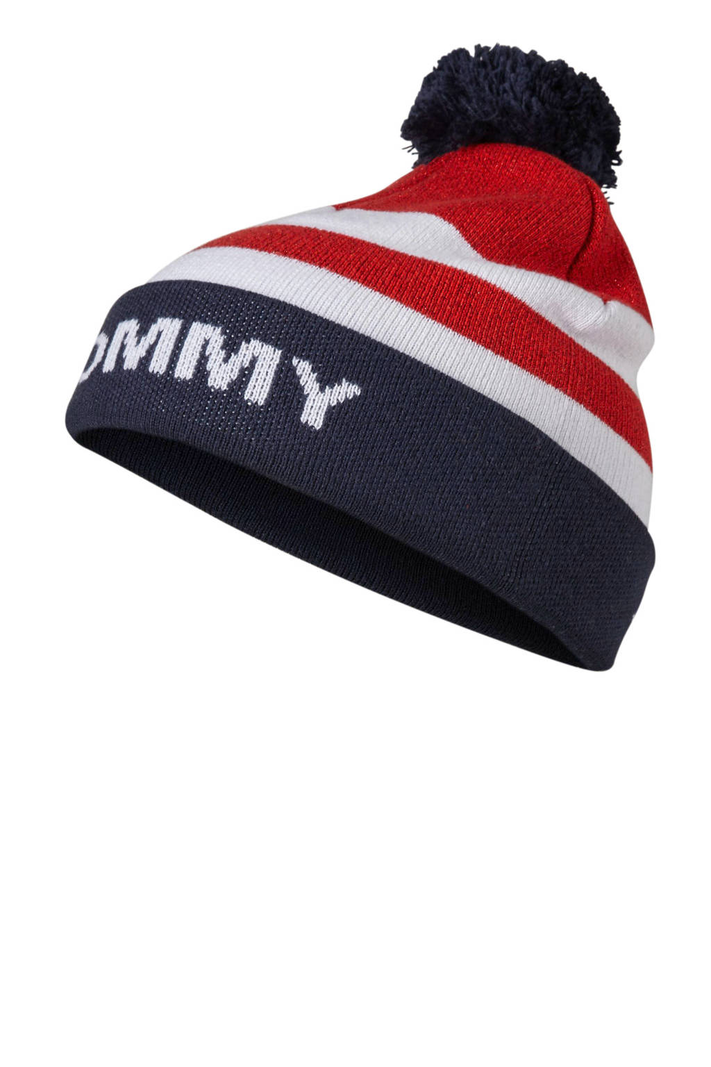 Tommy Hilfiger muts Americana Beanie rood, Rood/wit/marine