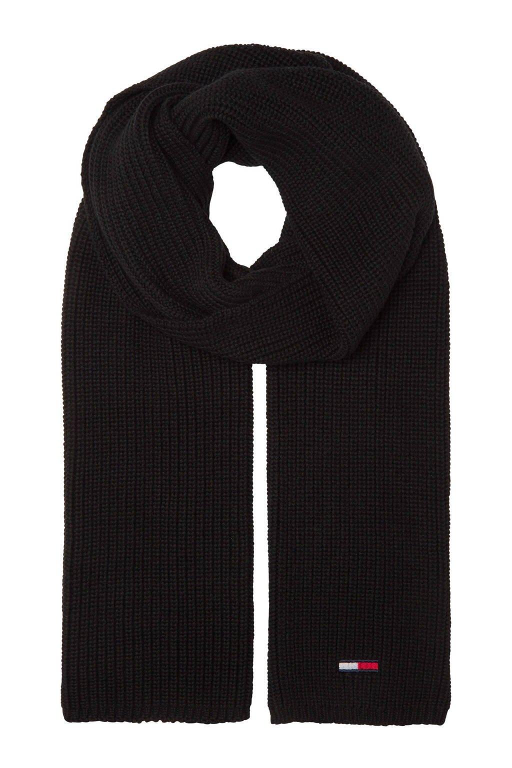 Tommy Hilfiger ribgebreide sjaal zwart, Zwart