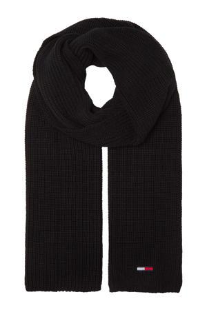 ribgebreide sjaal zwart