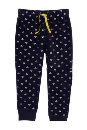 pyjamabroek met hartjes donkerblauw/zilver
