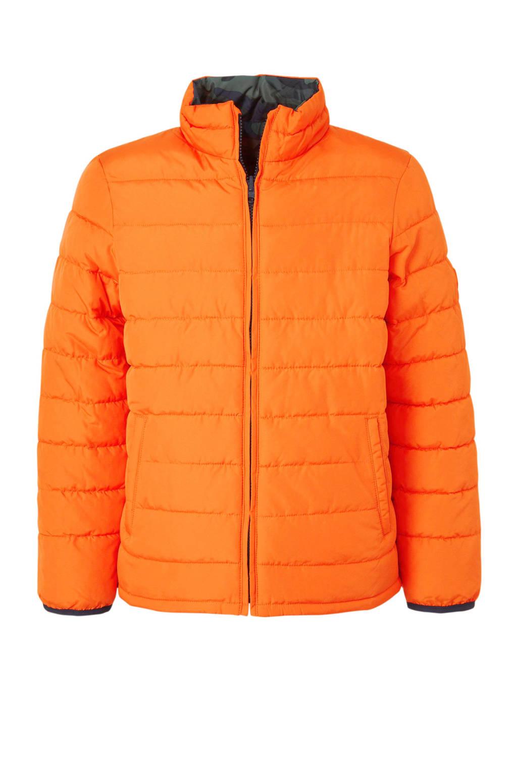 GAP omkeerbare winterjas met camouflageprint oranje/groen, Oranje/groen