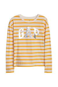 GAP gestreepte longsleeve geel/wit, Geel/wit