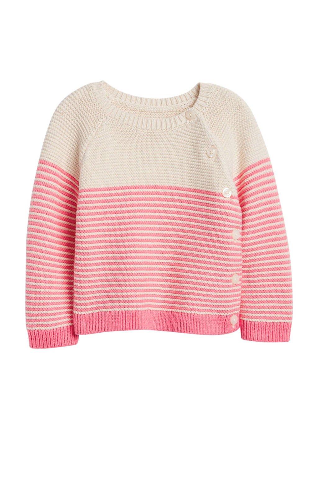 GAP baby gestreepte trui roze/ecru, Roze/ecru