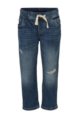 slim fit jeans met slijtage donkerblauw
