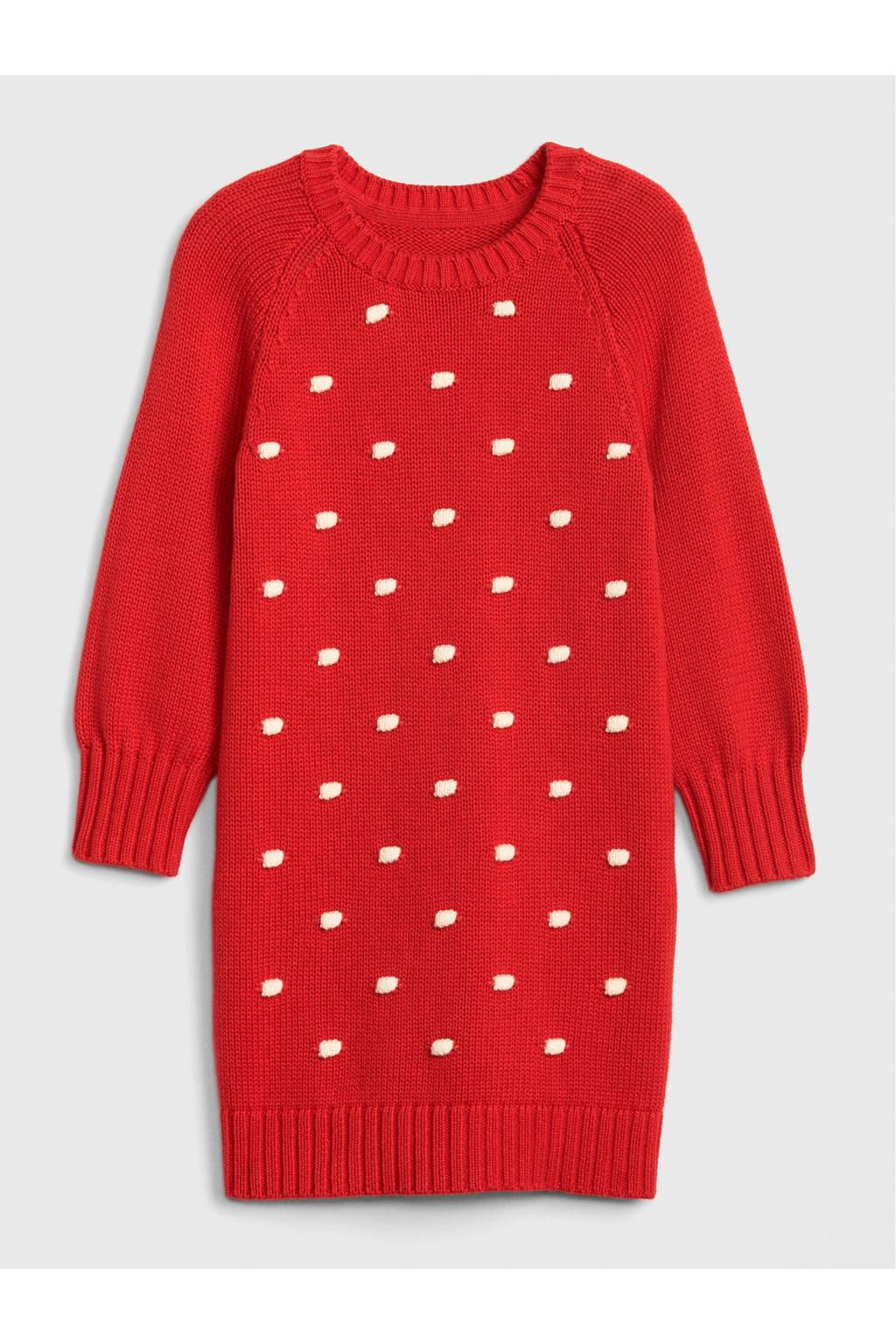 GAP gebreide jurk rood, Rood/wit