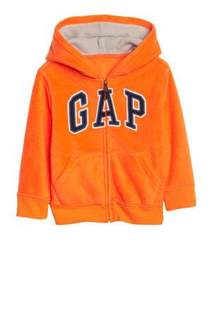 fleece vest met logo oranje