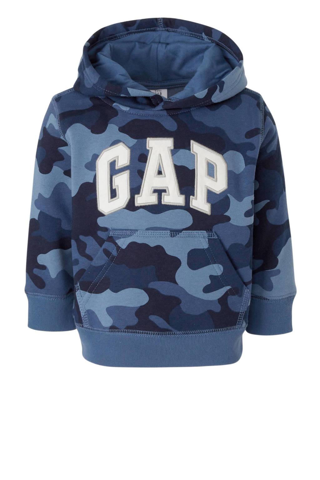 GAP hoodie met camouflageprint en borduursels blauw/wit/grijs, Blauw/wit/grijs