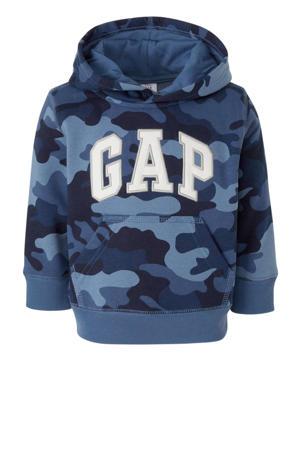 hoodie met camouflageprint en borduursels blauw/wit/grijs