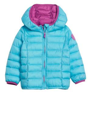 winterjas met contrastbies lichtblauw