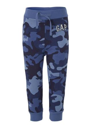 joggingbroek met camouflageprint blauw/donkerblauw