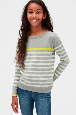 gestreepte sweater grijs/wit/geel