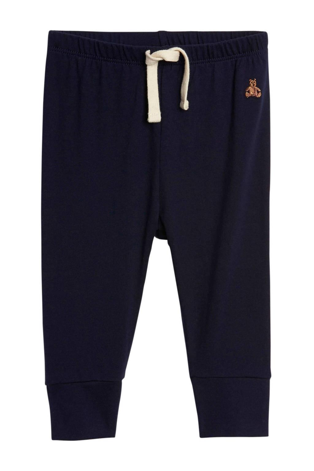GAP baby tapered fit broek met borduursels donkerblauw, Donkerblauw