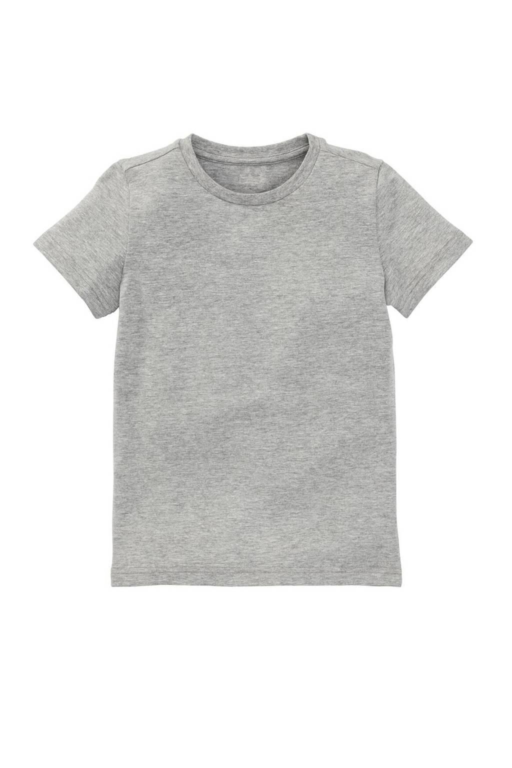 HEMA T-shirt met biologisch katoen grijs melange, Grijs melange