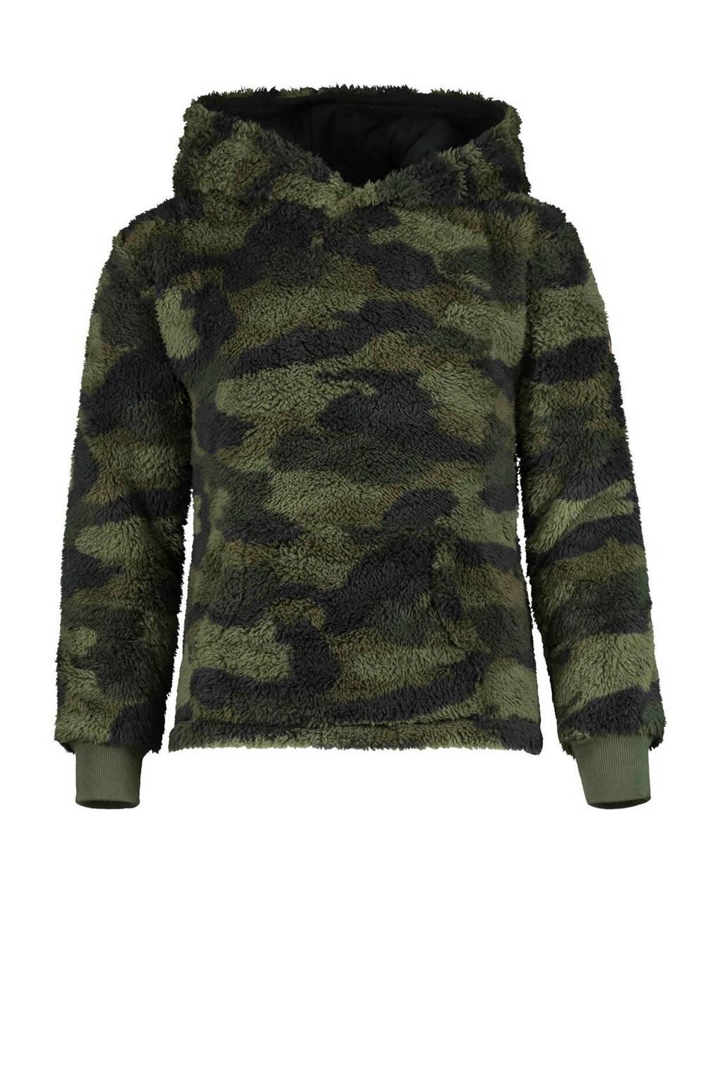 HEMA hoodie Ronald met camouflageprint groen, Groen
